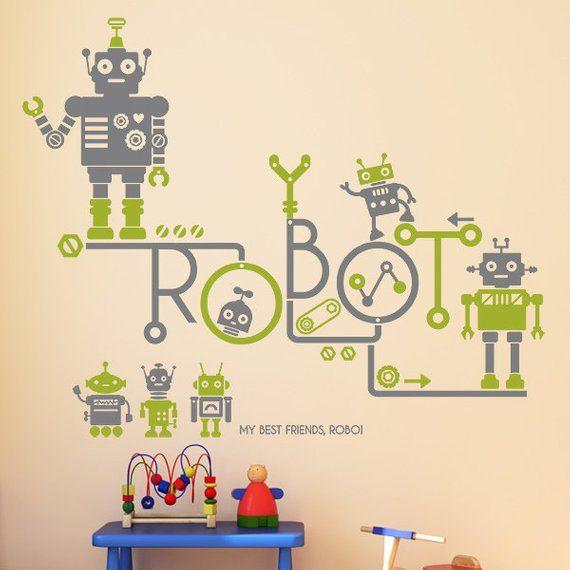 wall point art mural decor sticker : robot friends, modern style