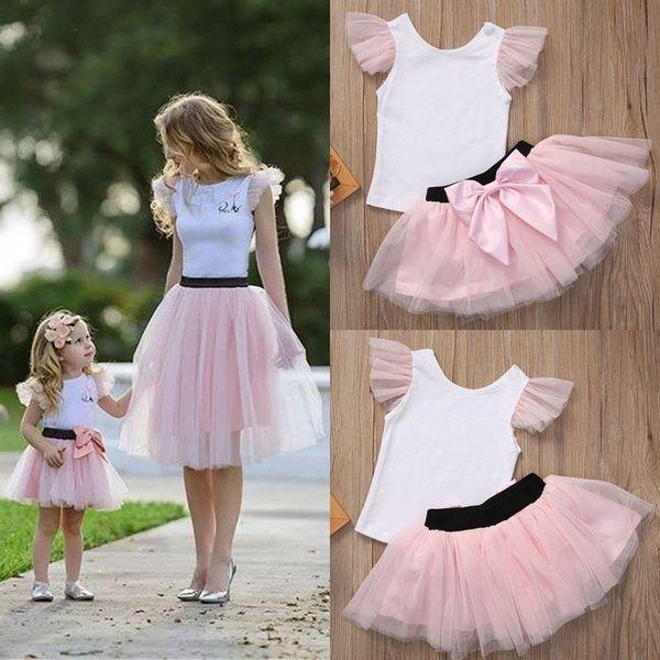 Baby Girl 2 Piece Cotton Short Sleeve Shirt Skirt Ruffled Tulle Dresses