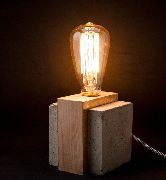 Industrial Concrete Wood Table Lamp Edison Lamp Concrete Light