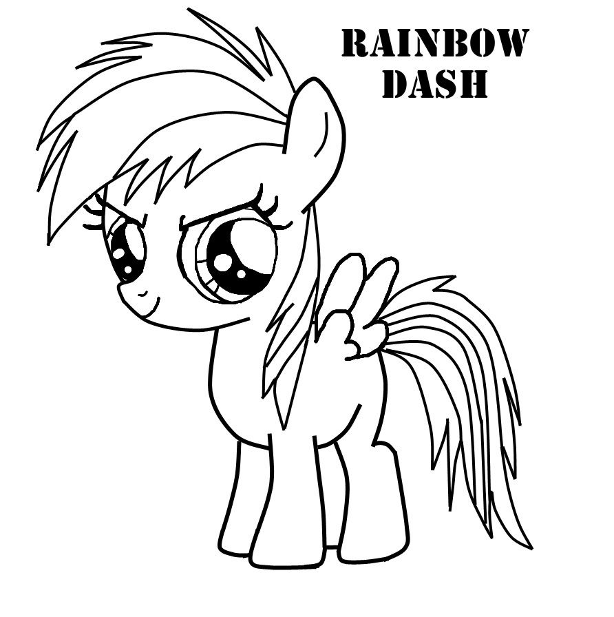 Rainbow Dash Coloring Pages My Little Pony Coloring Cartoon
