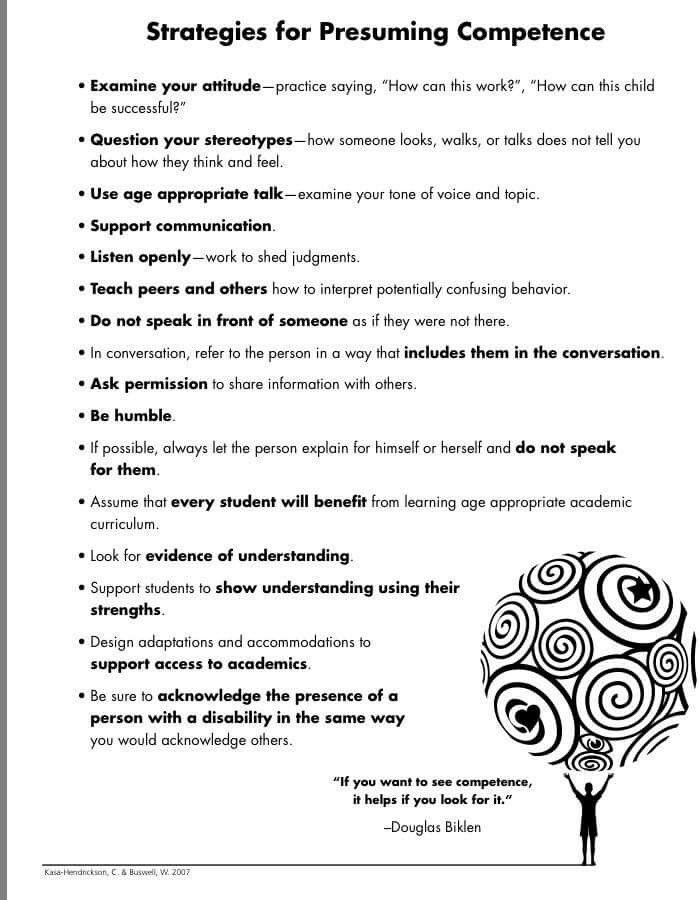 Presume competence Psychology/kids School psychology