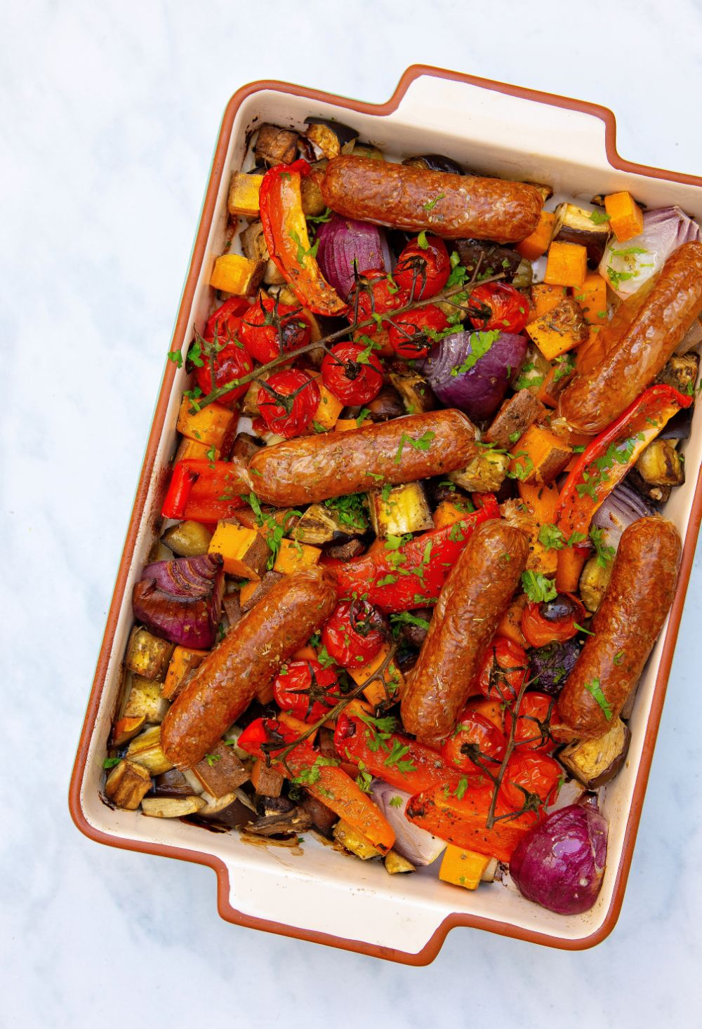 Plant Based Sausage Tray Bake Healthy Living James Gluten Free With Meatless Farm Co Recipe Sausage Tray Bake Vegan Sausage Sausage Bake