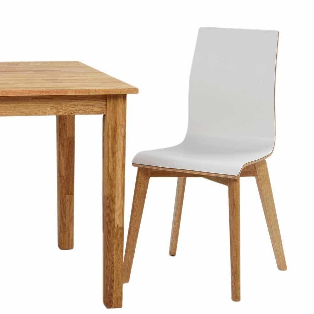 Hochdrucklaminat Stuhl In Weiss Mit Eiche Natur Sonda 2er Set Esszimmerstuhl Stuhle Eiche Massiv