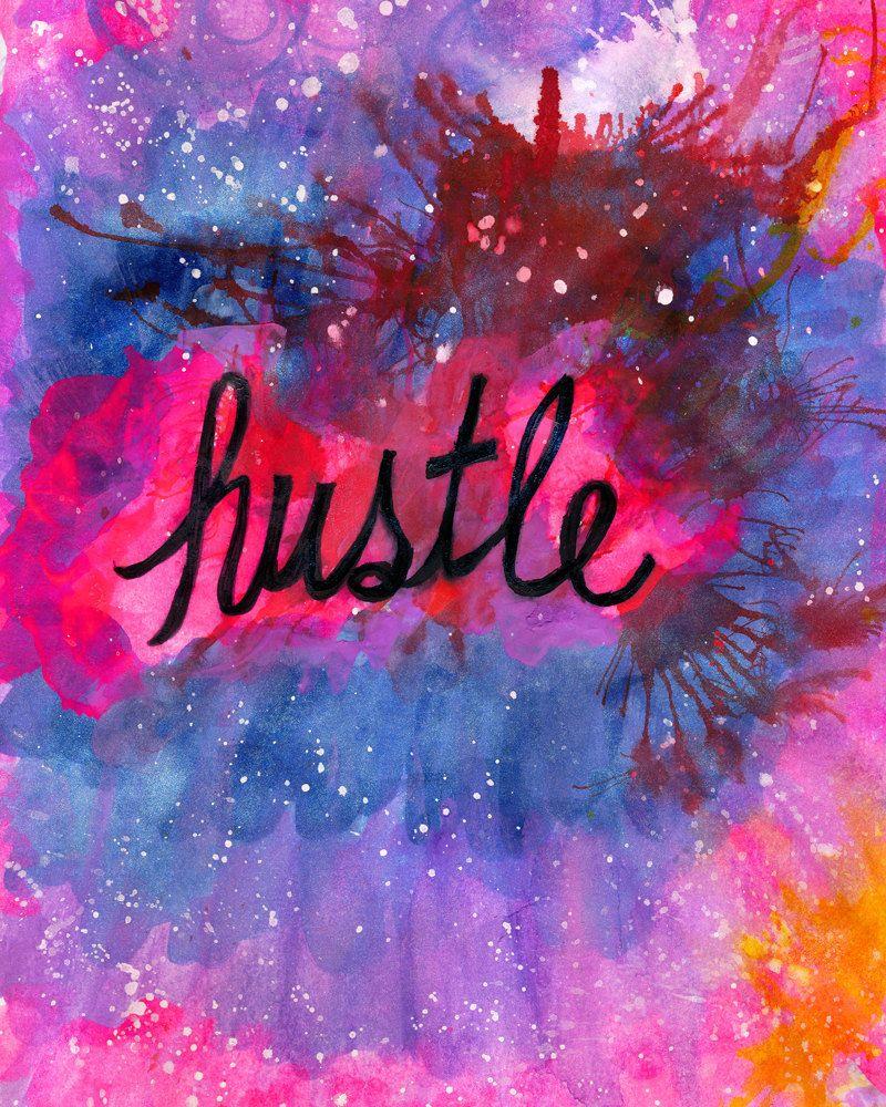 Hustle Painting Print | Hustle Art Print | Hustle and Heart | Boss Babe Art | Boss Lady Art Print | Office Wall Art | Hustle Watercolor by DaydreamerAlley on Etsy