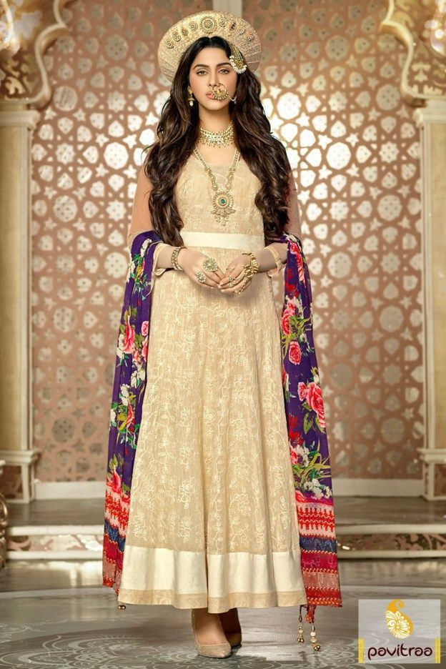 Cream Color Bajirao Mastani Cotton Designer Anarkali Suit Online ...
