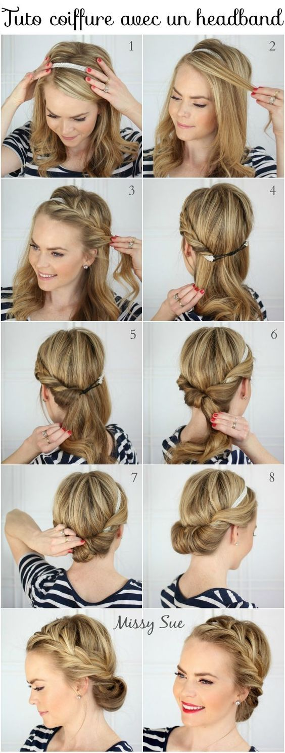 Tuto Coiffure Facile Cheveux Longs Courts Coiffure Avec Headband Tuto Coiffure Cheveux Long Tuto Coiffure