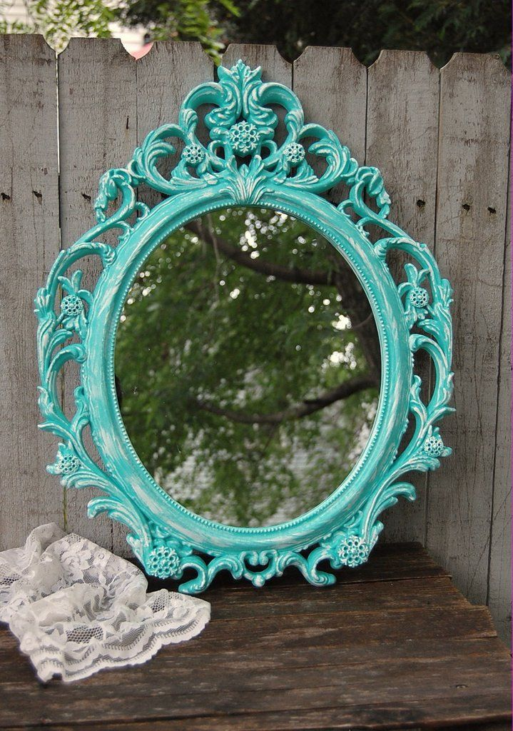 Ornate aqua mirror | Aqua, Shabby chic mirror and Shabby