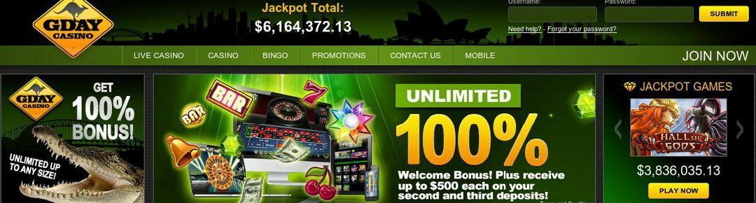 GDay Online Casino Review. Get 50 Free Spins NO Deposit