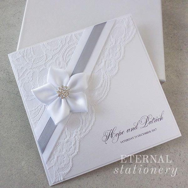 Elegant lace Wedding Invitation Created by Eternal Stationery www