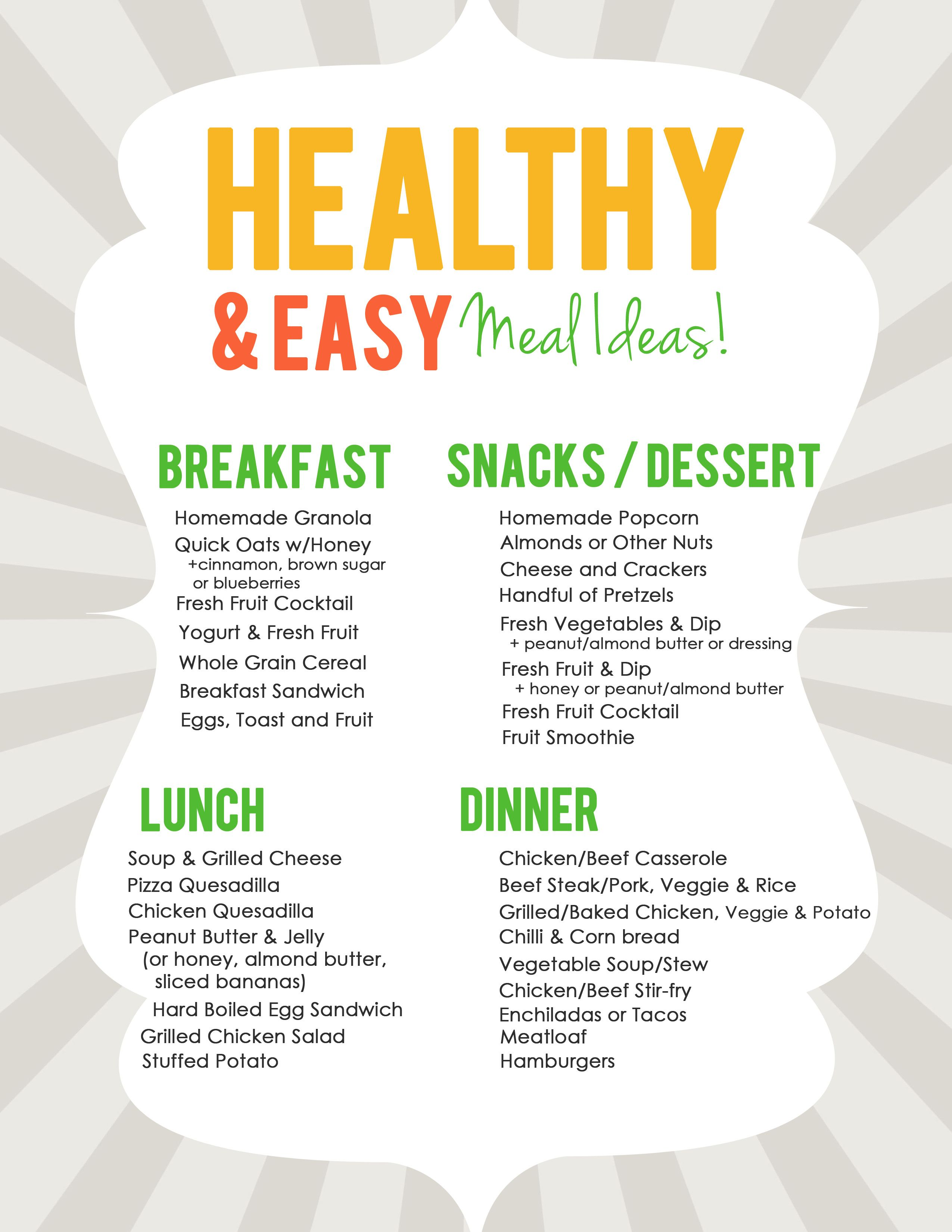 Easy healthy meal ideas list for meal planning healthy recipes easy healthy meal ideas list for meal planning forumfinder Image collections