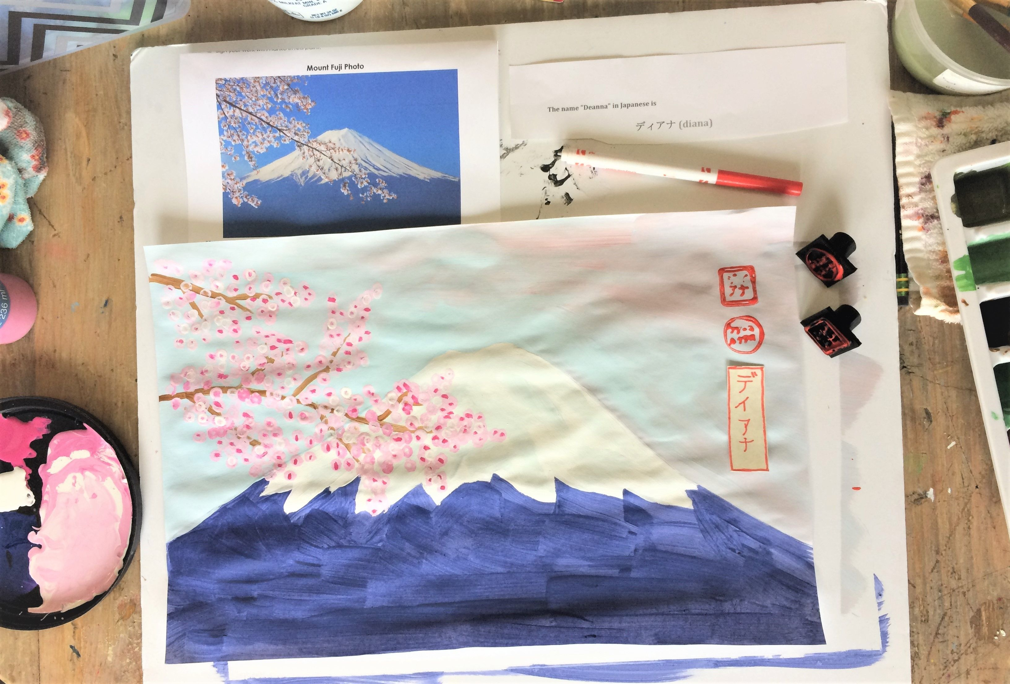 Free Art Lesson Plan Mount Fuji With Cherry Blossoms