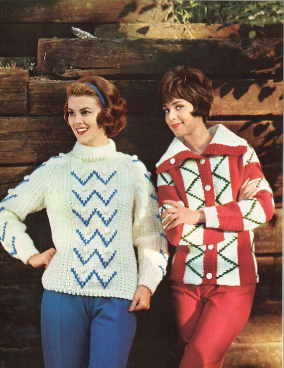 Zig Zag Zoom! • 1960s Ski Skiing Pullover Cardigan Sweater ...