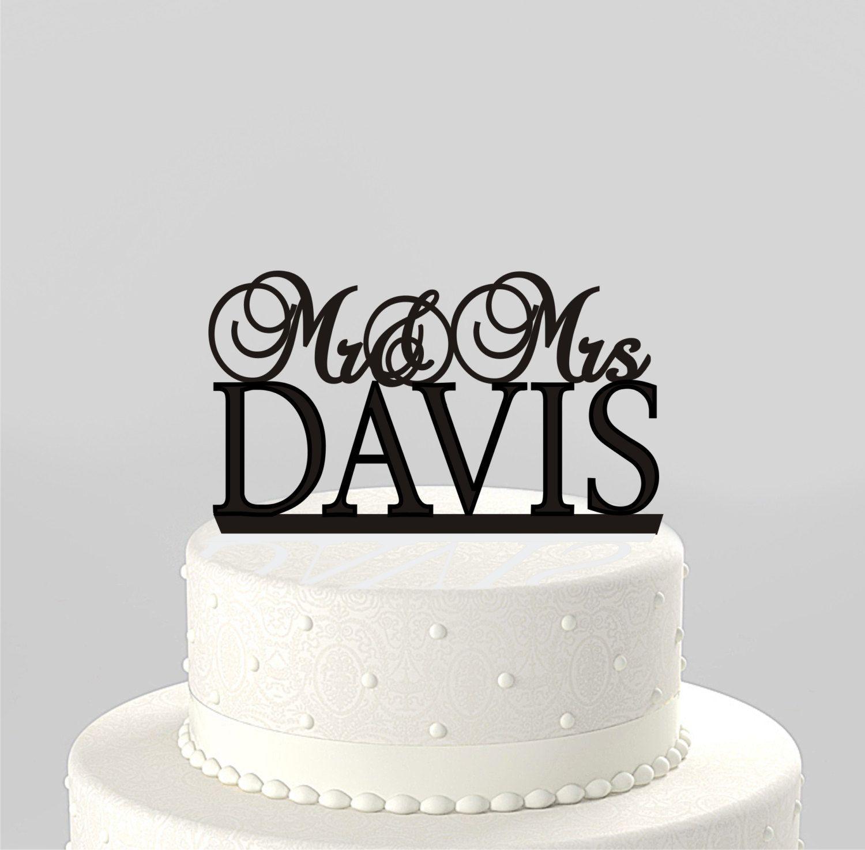 Wedding cake topper mr u mrs personalized with last name acrylic