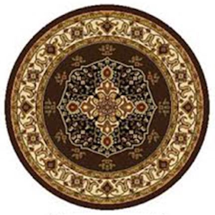 Home Dynamix Royalty Collection Polypropylene Machine-made Traditional Round Area Rug (5'2) (Brown-Ivory Traditional 5'2 Round Area Rug), Beige (Olefin, Border)