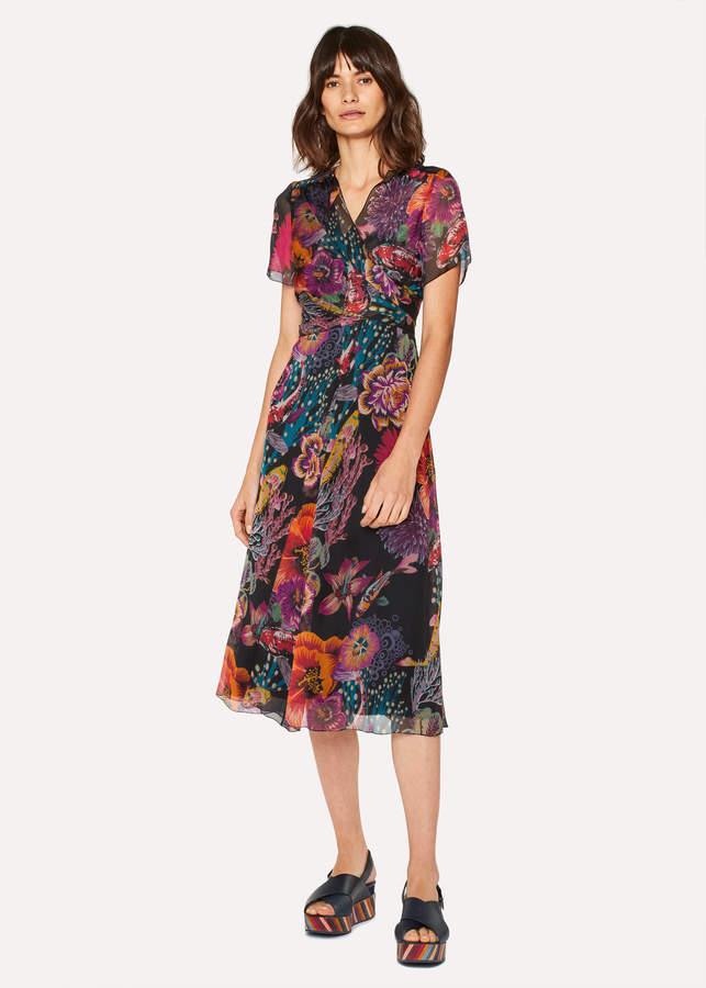 Paul Smith Women s Black  Ocean  Print Silk-Blend Midi Dress ... 5d3b1c8db