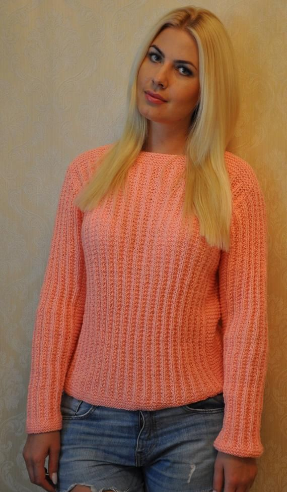 Handmade Sweater, Chunky Knit Jumper, Baggy Jumper, Chunky Knit Sweater, Fall Sweater, Knitted Jumper, Knitted Sweater, Peach Knit Sweater
