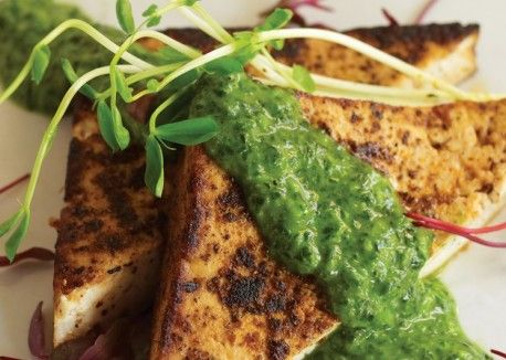 spice roasted tofu fillets w/ jade pesto