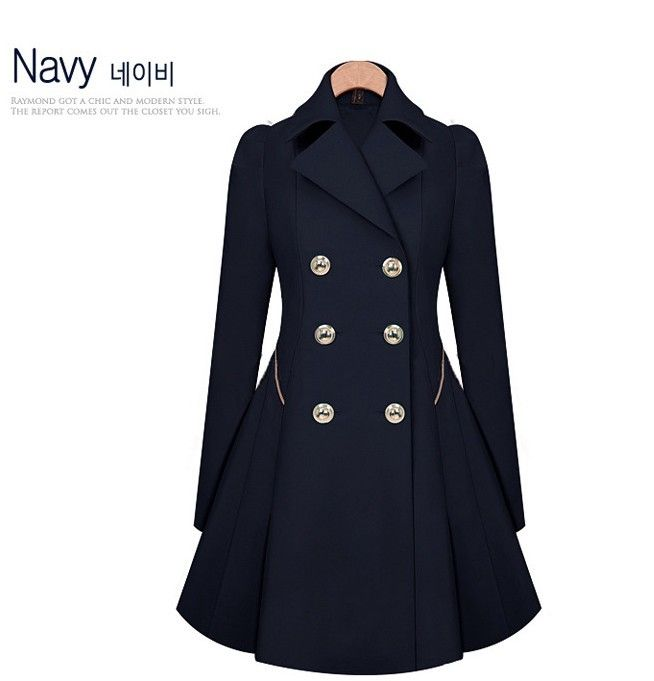 Plus Size Womens Vintage Double Breasted Jacket Long Trench Flare Coat Parka Top