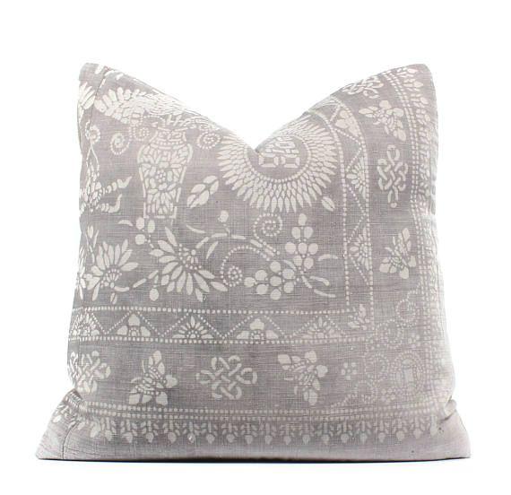 Chinese Gray Batik Pillow Cover Boho