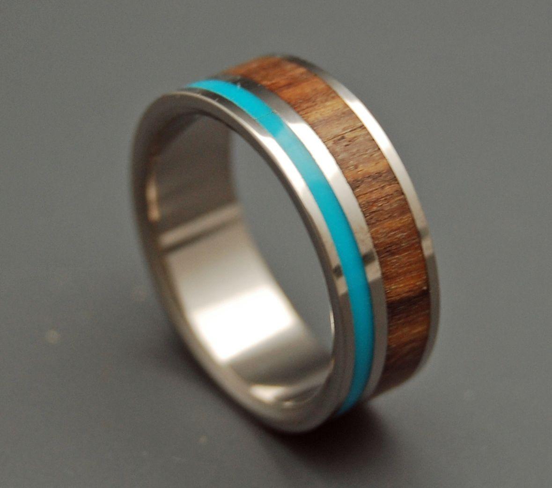 Fancy Titanium Turquoise Wood Wedding Ring Products I Love