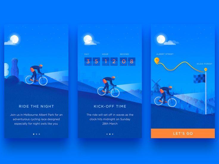 Bicycle Event Onboard App design, Onboarding, Onboarding app