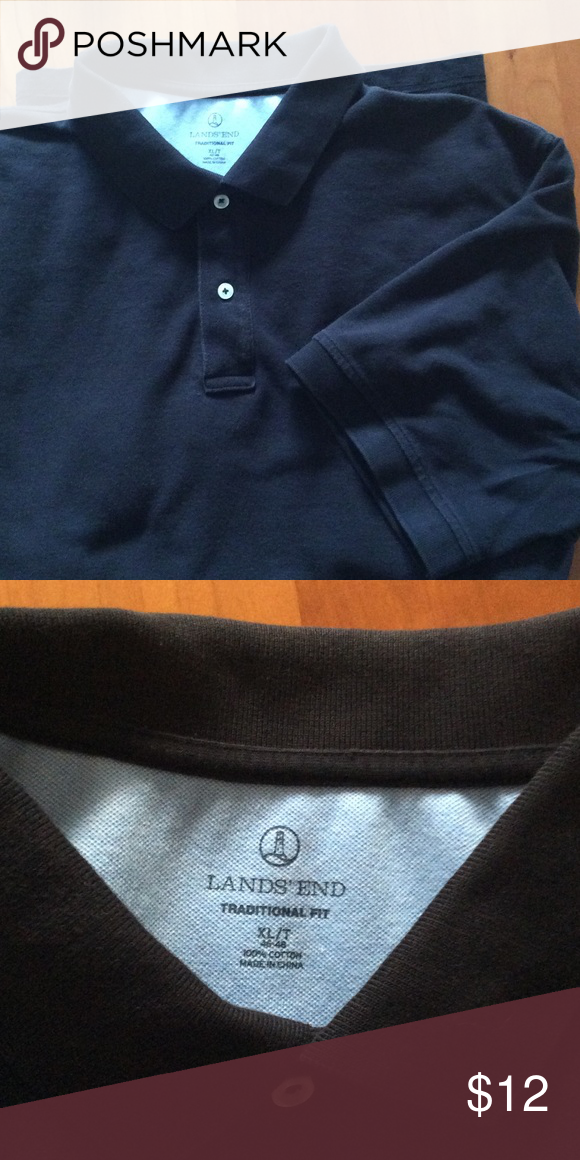 Lands End short sleeve traditional pique polo! Black traditional fit pique polo. Previously worn, but excellent shape! Lands' End Shirts Polos