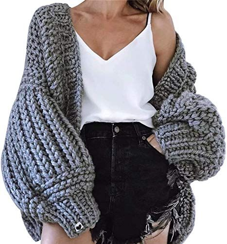 Best Seller Yimoon Women's Lantern Sleeve Slouchy Sweaters Open Front Warm Chunky Cardigan online - Chictopclothing