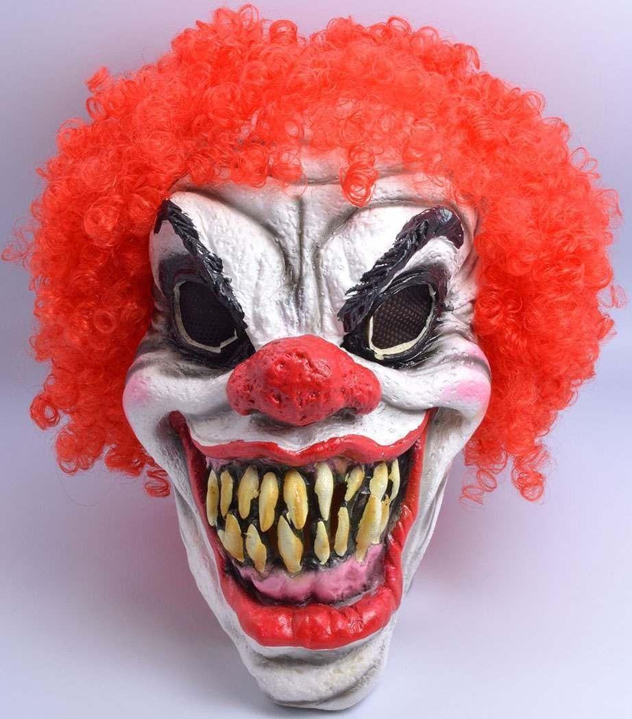 One Size Clown Mask + Hair Fancy Dress Accessory Scary