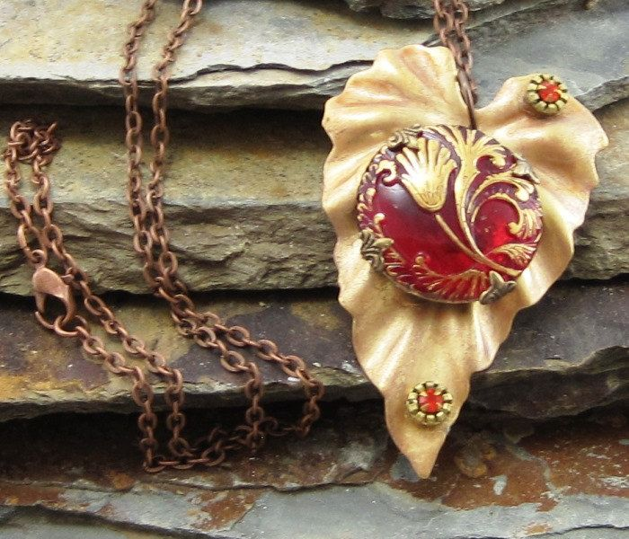 Vintage Style Gold Leaf Necklace Fire Red Czech Button Hand Painted Red Swarovski Elements, Vintage Autumn Leaf Pendant, Jewelry - pinned by pin4etsy.com
