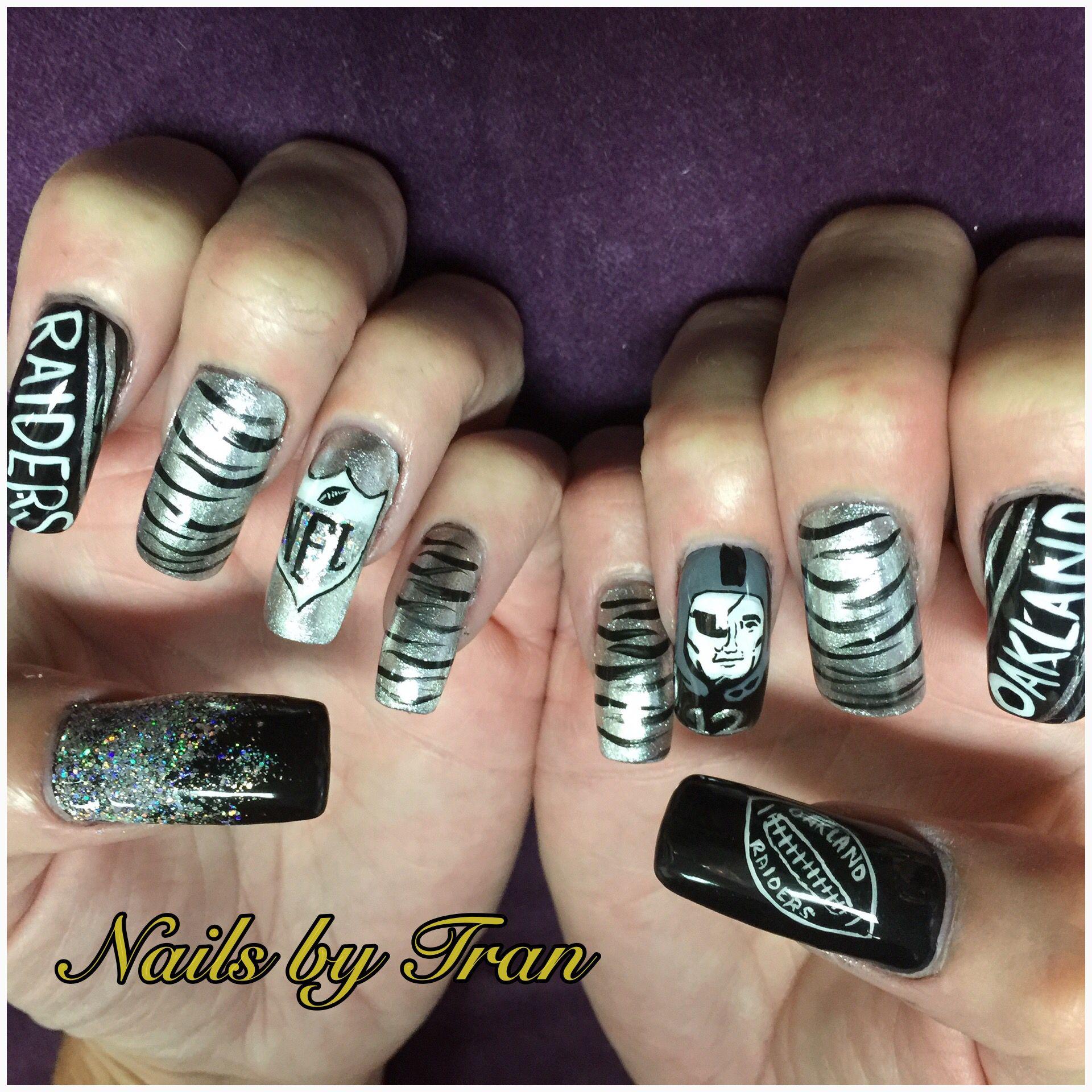 Oakland raiders nails   Nail art   Pinterest   Raiders nails ...