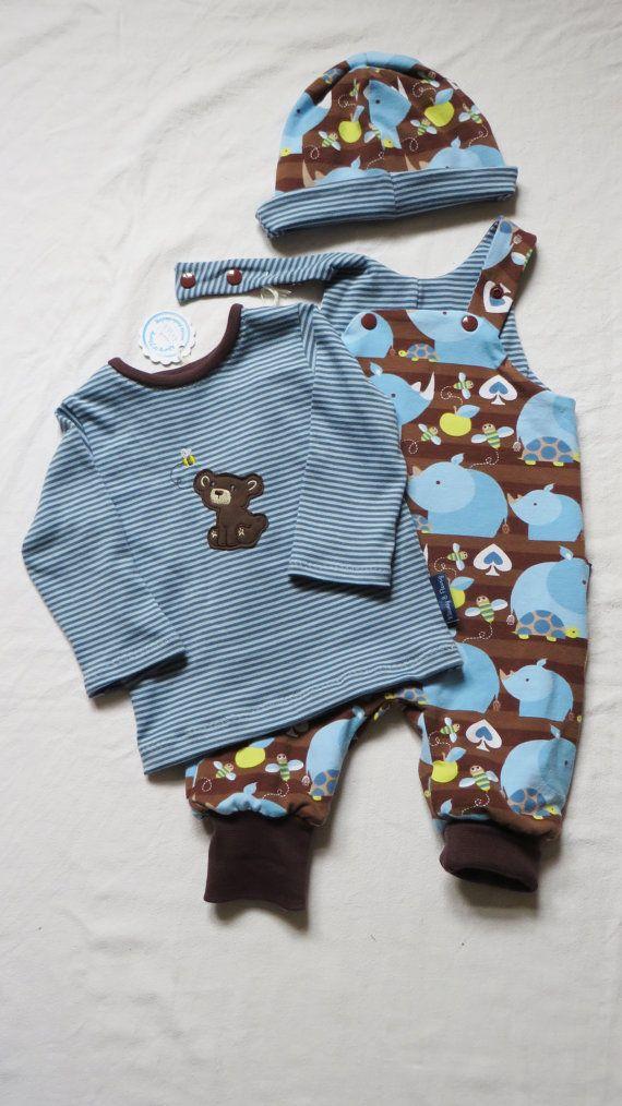 Babykleding Jongen Maat 62.Babyjongens Set Van Shirt Tuinbroek En Mutsje Maat 62