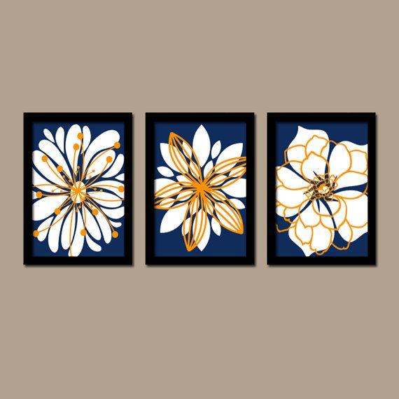 Navy Blue Orange White Flower Burst Outline Dahlia Floral Bloom Artwork Set Of 3 Trio Prints Wall Decor Abs Art