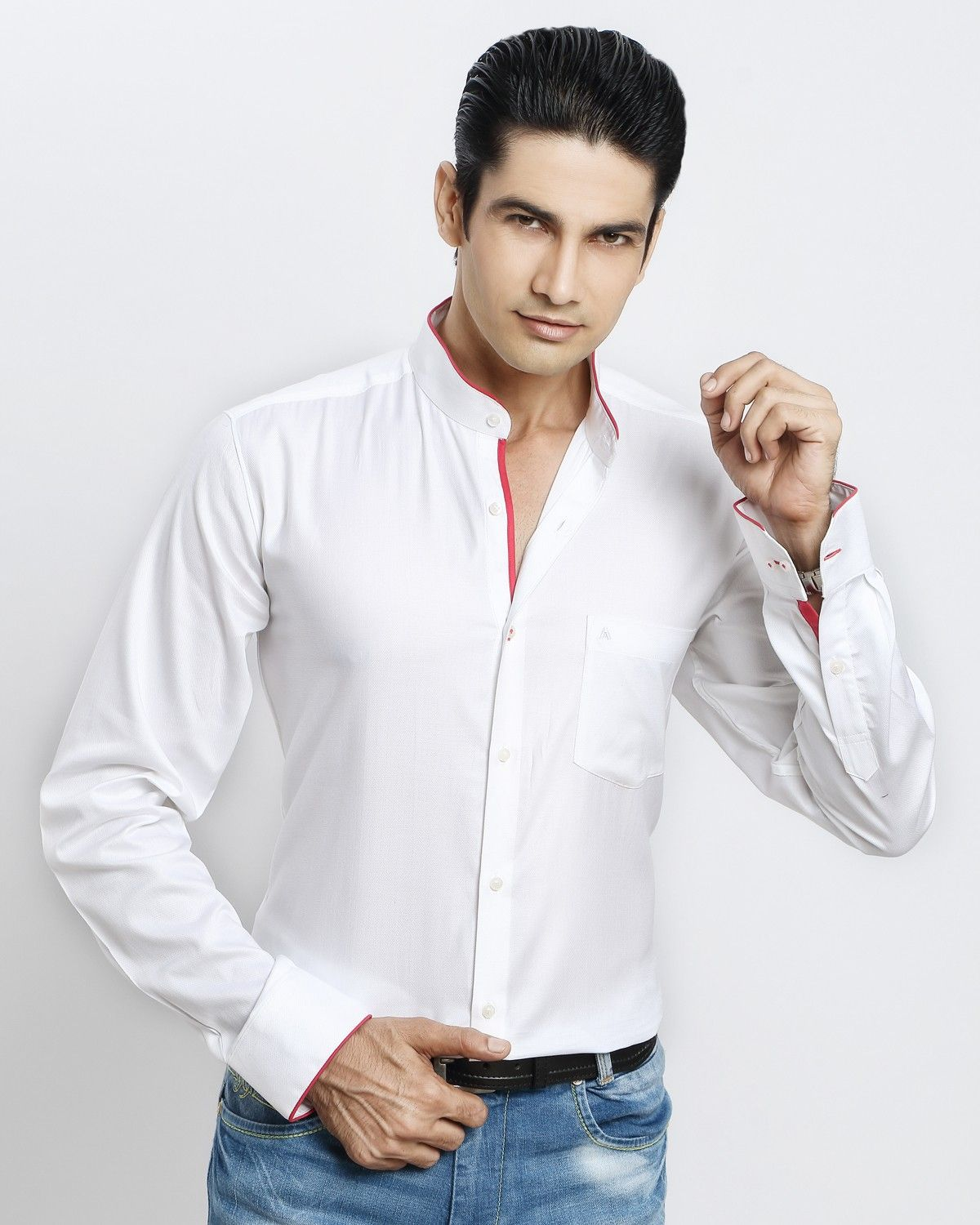 186dc4f59 WHITE-RED CHINESE COLLAR SHIRT Jaihind Retail