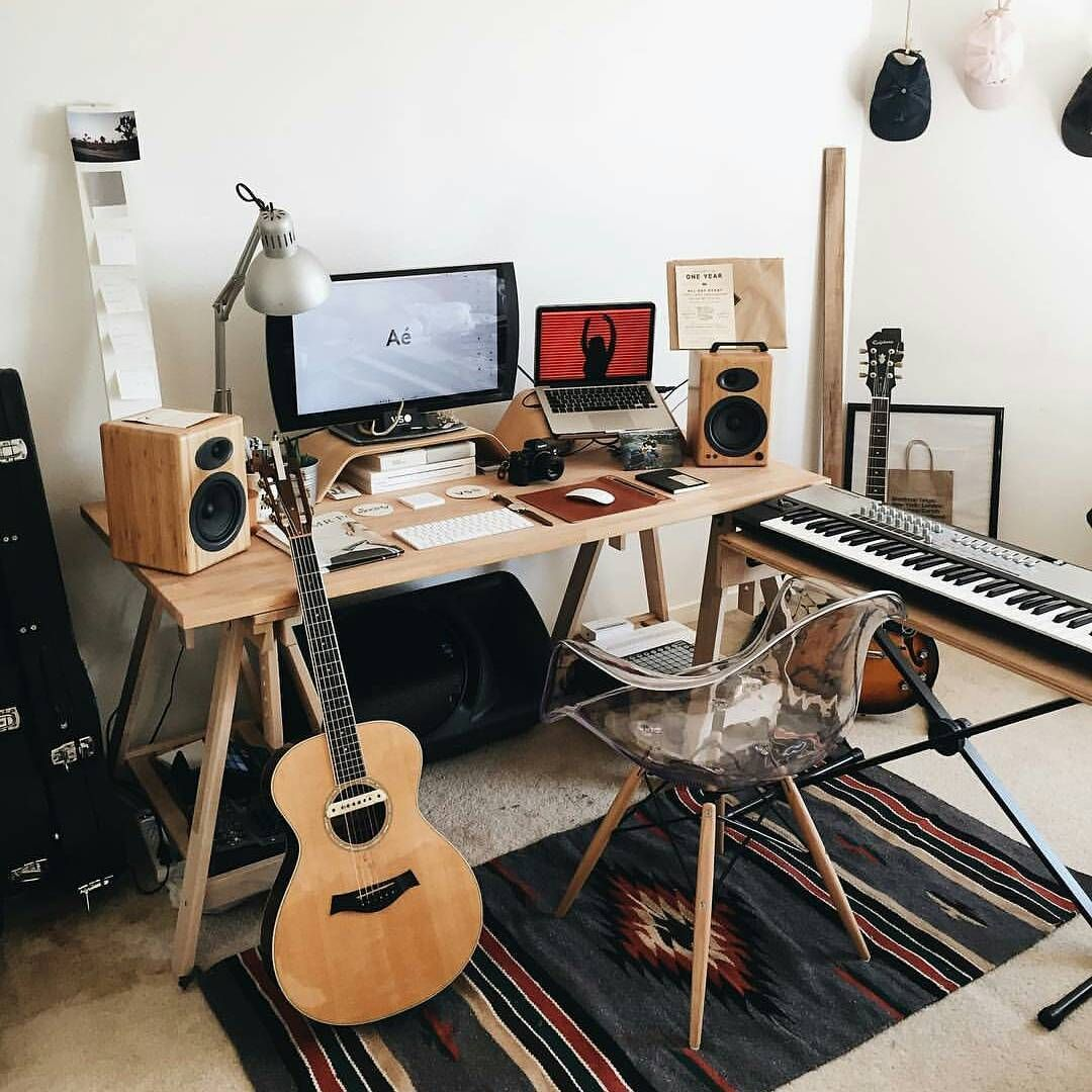 Guitar Decor For Bedroom Cool Bedroom Studio Workspace Studio Pinterest