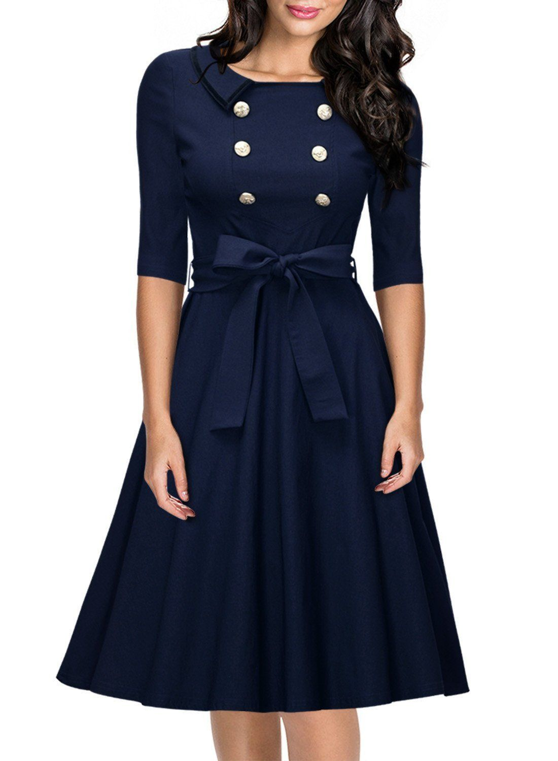 Miusol Women's 3/4 Sleeve Classy Casual Belted Vintage Retro Evening Swing  Dress Navy Blue