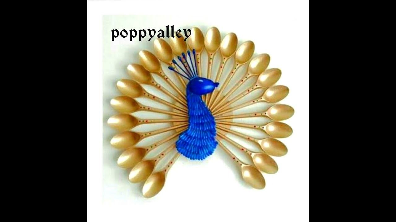DIY Wall Decoration : How to Make a Peacock from Plastic Spoons ...