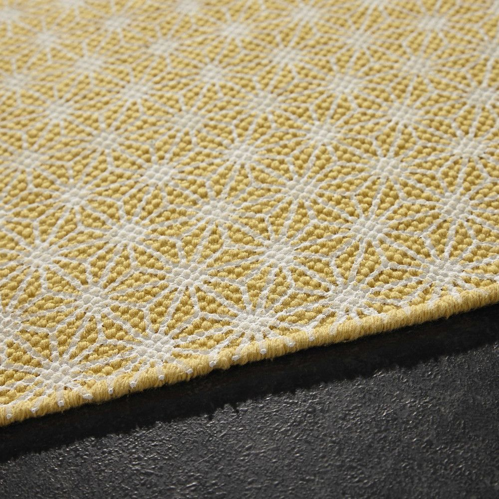 tapis en coton jaune moutarde 140 x 200 cm tapis en. Black Bedroom Furniture Sets. Home Design Ideas