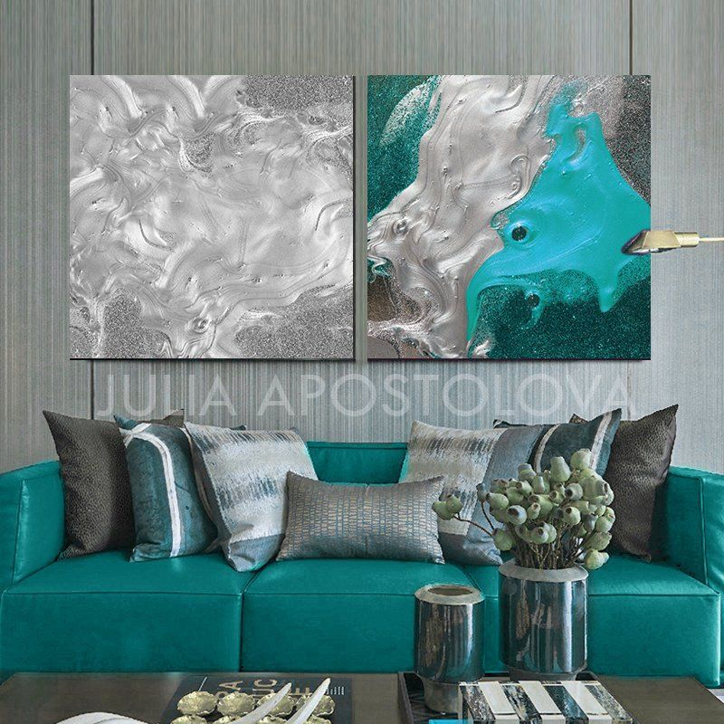 80 Silver Turquoise Oversized Artwork Twopieces 80x40inch Watercolor Painting Silverleaf Luxuryart Art Canva Large Art Prints Painting Luxury Art
