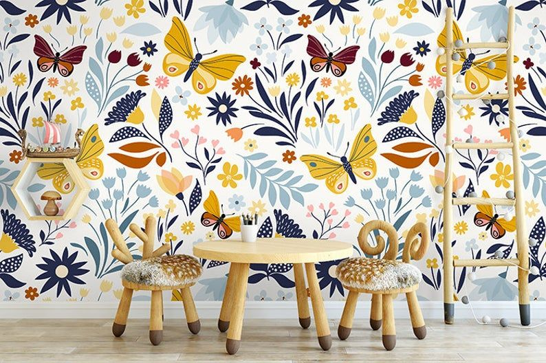 Removable Wallpaper Outside The Lines Peel And Stick Etsy Removable Wallpaper Traditional Wallpaper Wallpaper Samples