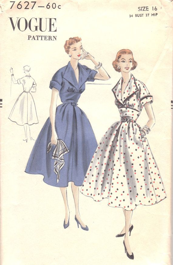 Classic 1950s Dress Pattern Vogue 7627 Size 16 by OneMoreCupOfTea ...