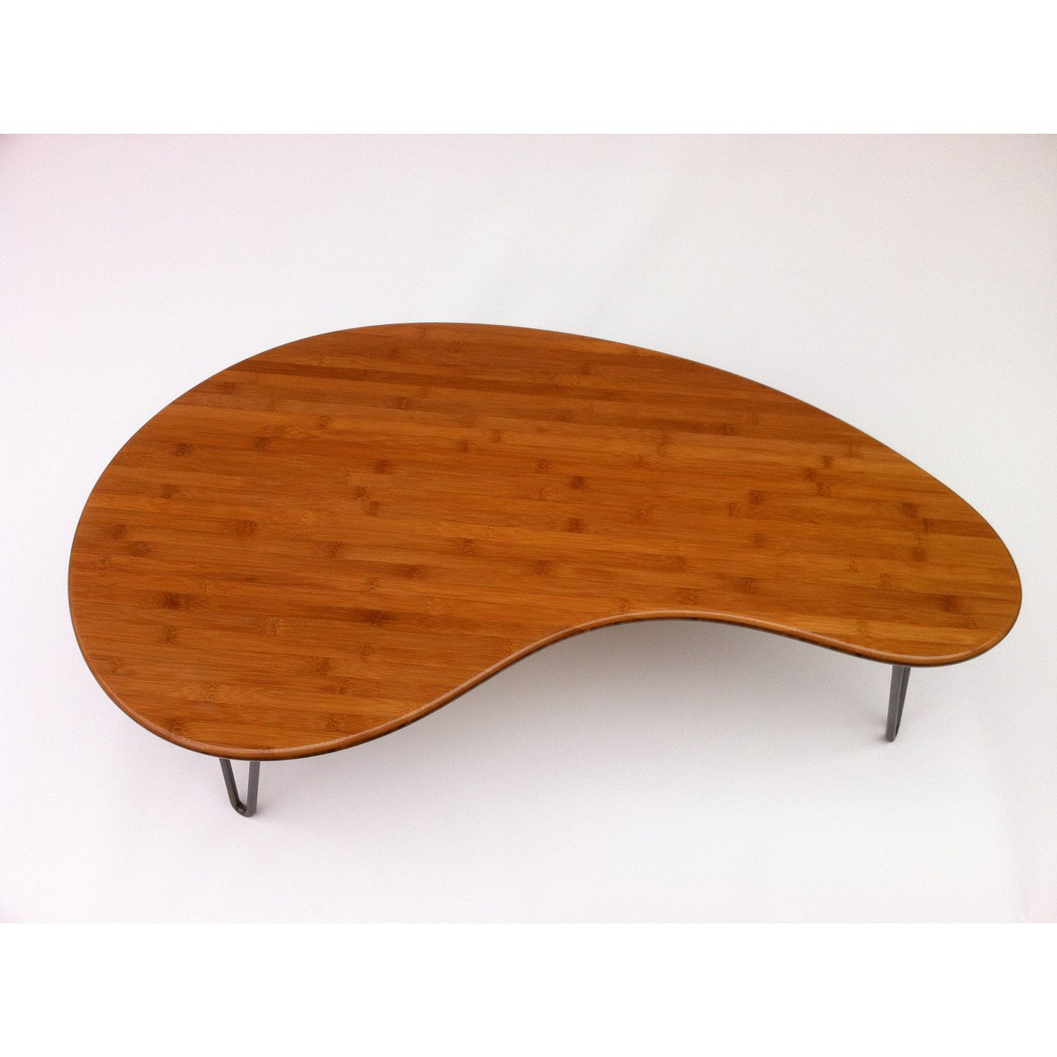 Mid Century Modern Coffee Cocktail Table Kidney Bean Shaped Atomic