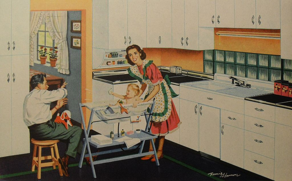 a baby bathinette  like the one my mother had for my sister in 1965 kitchen interior design illustration family man woman child 1940s kitchen interior design illustration family man woman child      rh   pinterest com