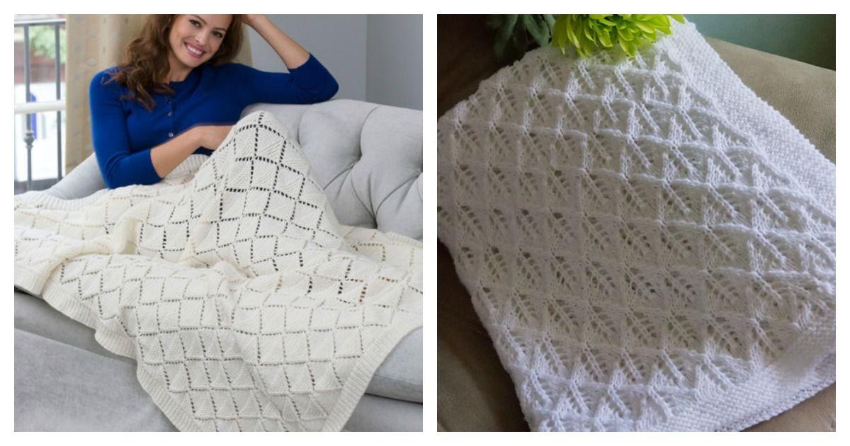 Diamond Lace Blanket Free Knitting Pattern Free baby