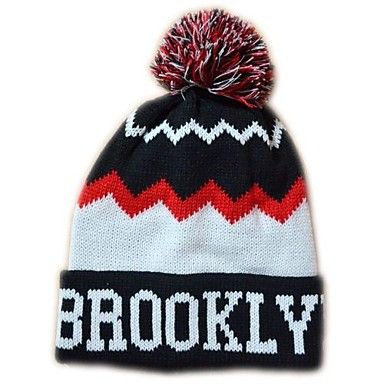 Pompom Beanie with Stripe Knited Cap Keep Warm Acrylic Soft Tuque Bobble Hat One Size Fits All Black with White New York