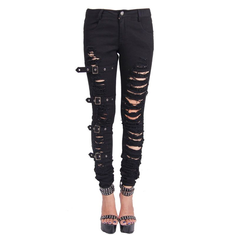 c7b938b25186b Cheap women sweat pants, Buy Quality pant suits women directly from China  womens uniform pants Suppliers: Devil Fashion Women Slim Fit Black Ripped  Emo ...