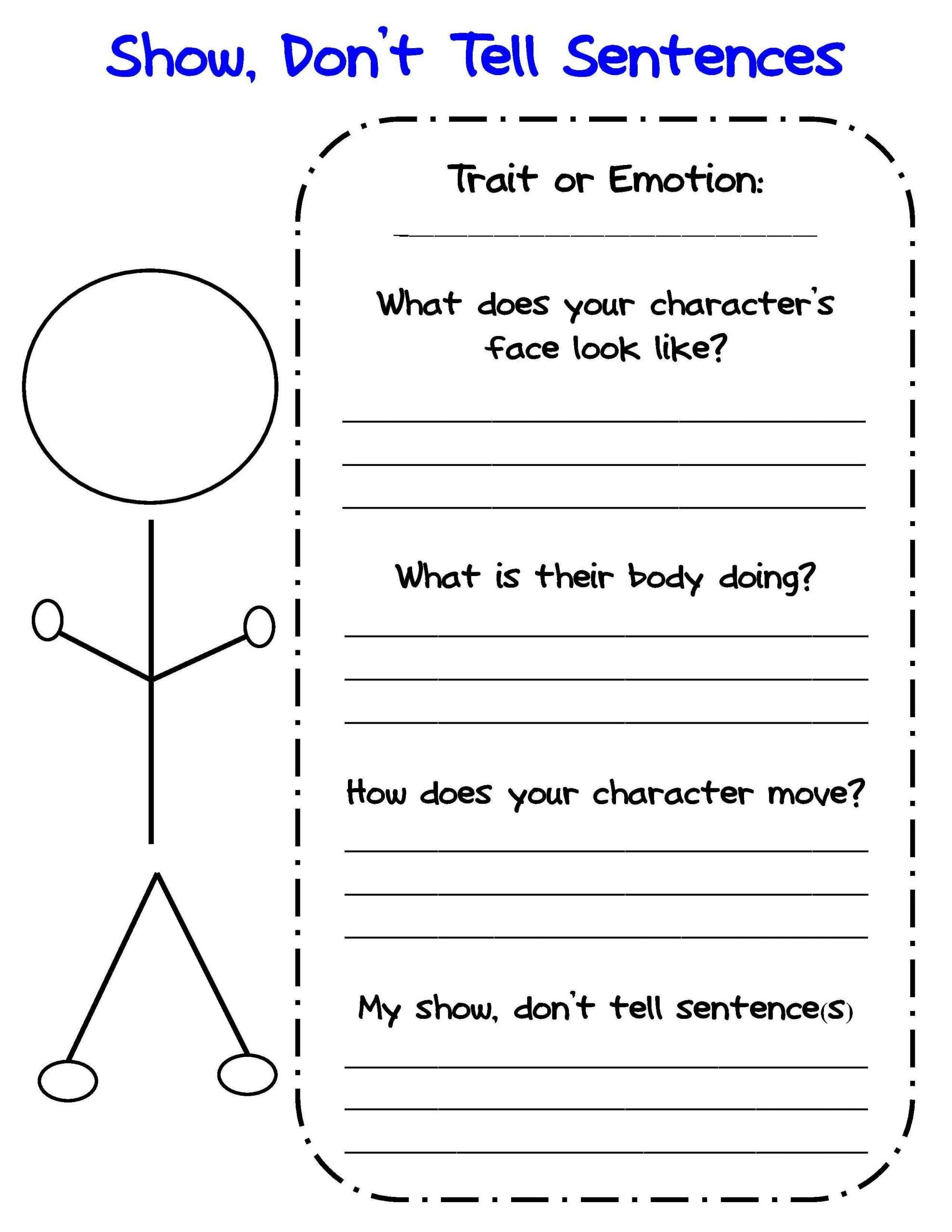 Character Worksheets For Kindergarten Free Show Don T Tell