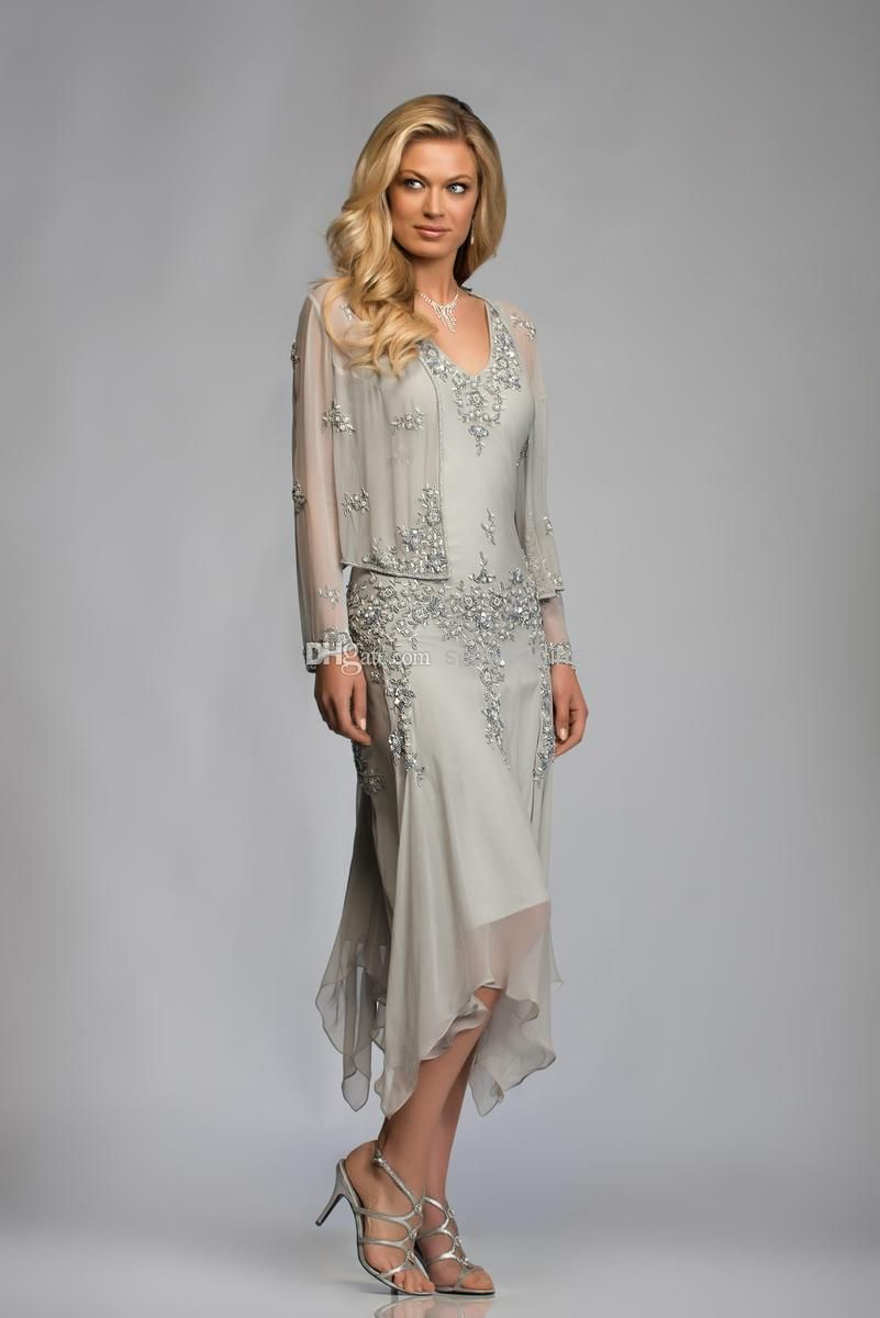 Whole Mother Of The Bride Dresses Silver Tea Length Handkerchief Dress With Jacket V Neck Sheer Long Sleeve Beaded Chiffon
