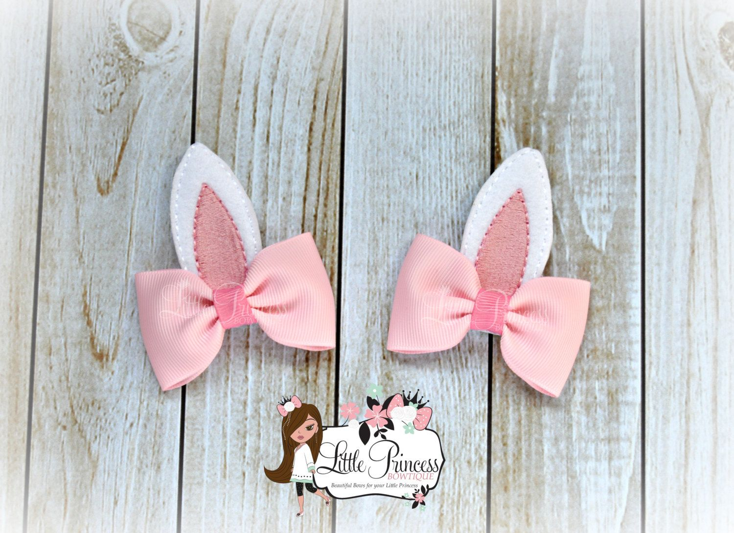 "Handmade pink glitter bunny ears bows baby//girls 2.5/""  hair clip or headband"