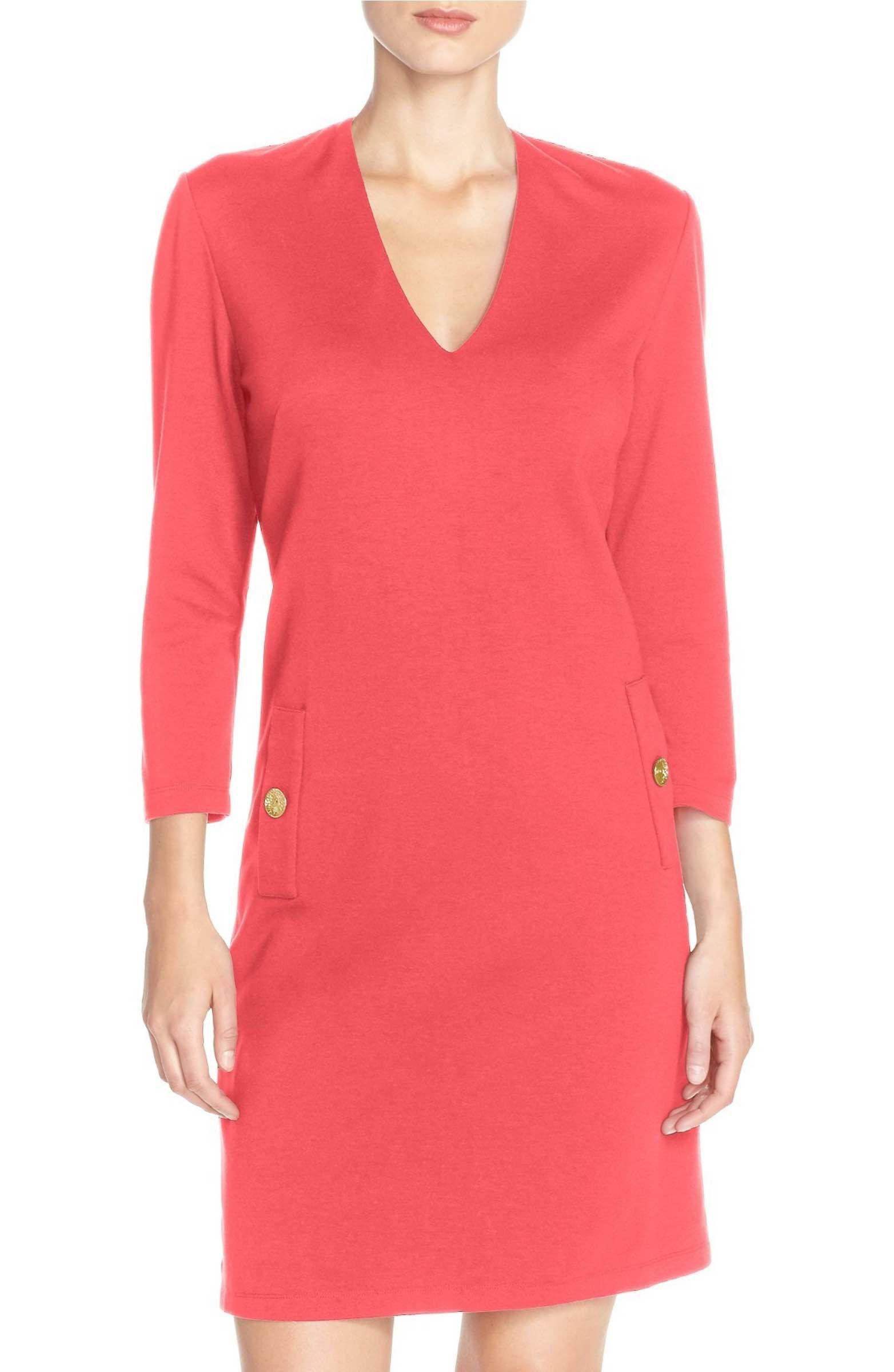 967fdd25 Main Image - Eliza J Button Pockets Ponte A-Line Dress (Regular & Petite)