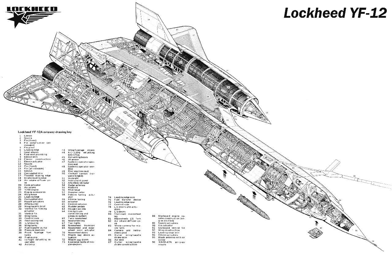 Details About Lockheed Yf 12 Sr 71 Aircraft Cutaway Poster
